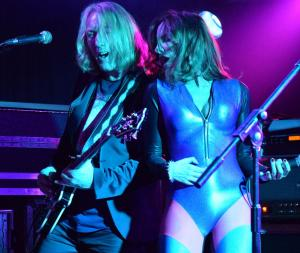 Space Elevator guitarist David Young and lead singer The Duchess, Manchester G3 2016.