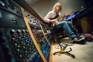Space Elevator Guitarist David Young recording Space Elevator II at Kore Studios, London.
